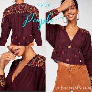 Free People Maroon Embroidered Blouse